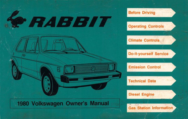 1980 Volkswagen Rabbit English Owner's Manual Cover