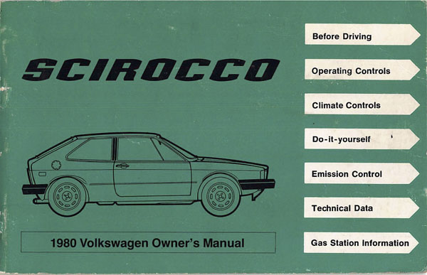 1980 Volkswagen Scirocco English Owner's Manual Cover