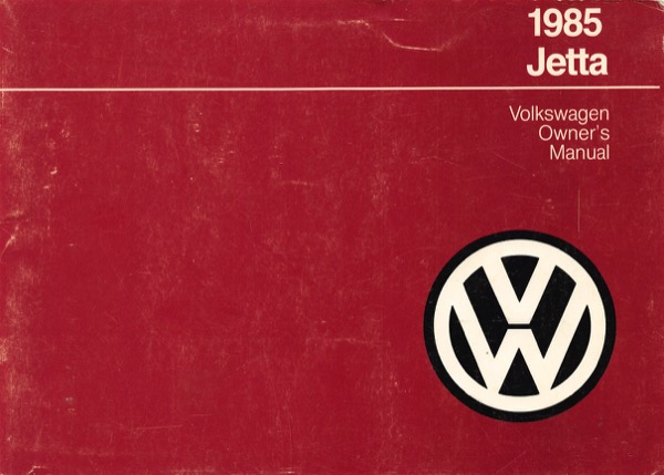 1985 Volkswagen Jetta English Owner's Manual Cover