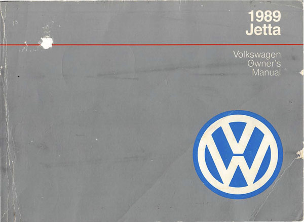 1989 Volkswagen Jetta English Owner's Manual Cover