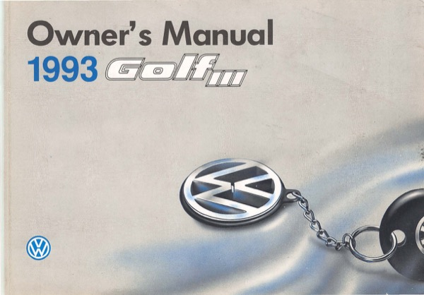 1993 Volkswagen Golf English Owner's Manual Cover