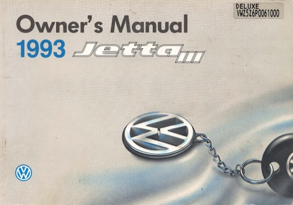 1993 Volkswagen Jetta English Owner's Manual Cover