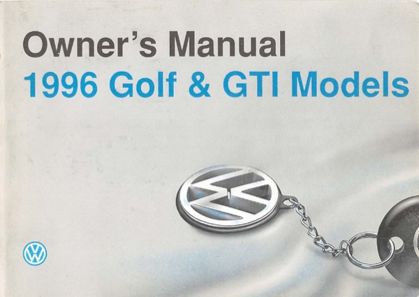1996 Volkswagen Golf English Owner's Manual Cover