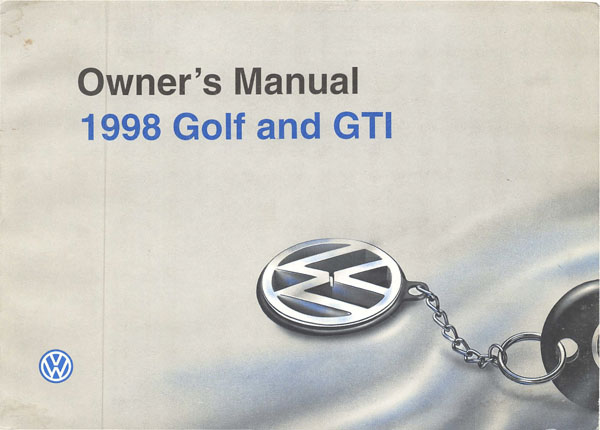 1998 Volkswagen GTI English Owner's Manual Cover