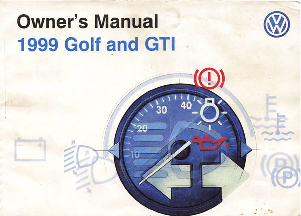 1999 Volkswagen GTI English Owner's Manual Cover