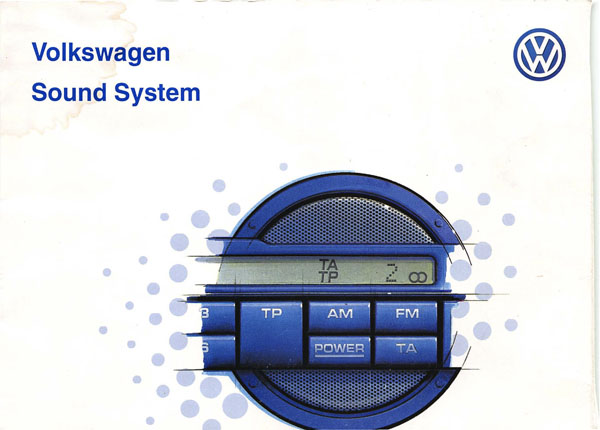 1999 Volkswagen GTI English Sound System Cover