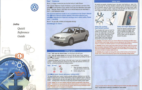 2000 Volkswagen Jetta English Quick Reference Guide Cover
