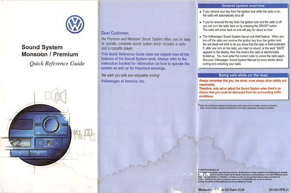 2000 Volkswagen Jetta English Quick Reference Guide Sound System Monsoon Cover