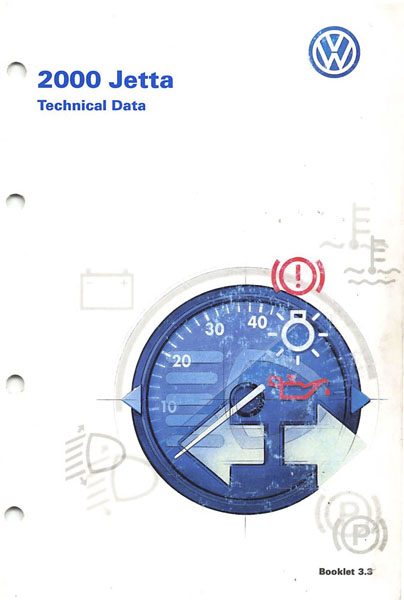 2000 Volkswagen Jetta English Technical Data Cover