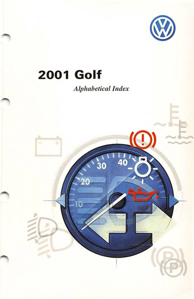 2001 Volkswagen Golf English Alphabetical Index Cover