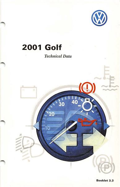 2001 Volkswagen Golf English Technical Data Cover