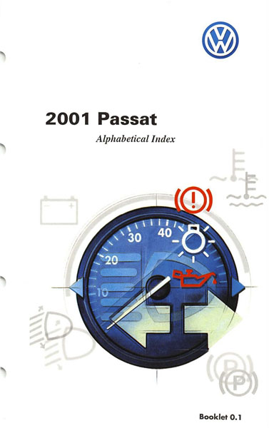 2001 Volkswagen Passat English Alphabetical Index Cover