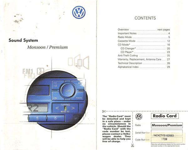2001 Volkswagen Passat English Premium Sound System Monsoon Cover