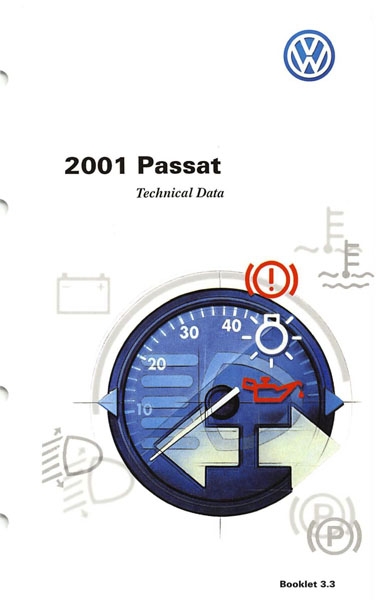 2001 Volkswagen Passat English Technical Data Cover