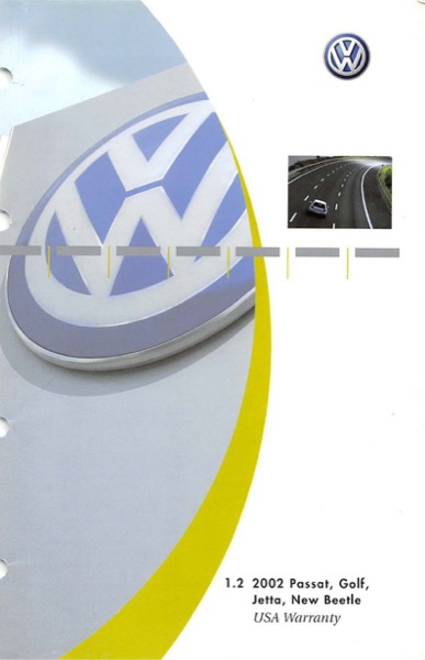 2002 Volkswagen Beetle English USA Warranty Cover