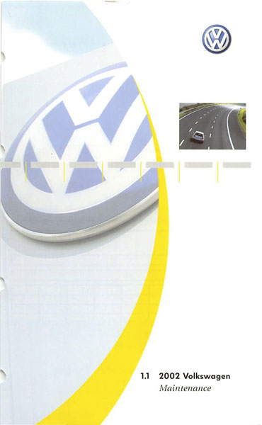 2002 Volkswagen Golf English Maintenance Cover