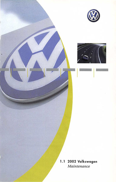 2002 Volkswagen Jetta English Maintenance Cover