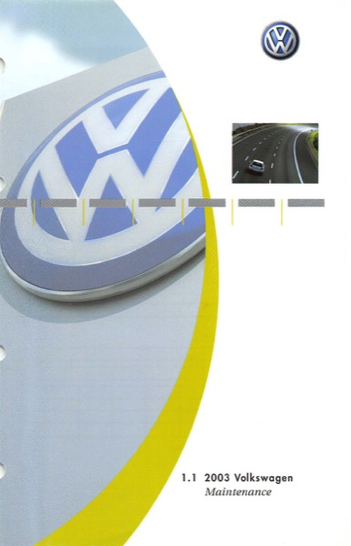 2003 Volkswagen Beetle English Maintenance Cover