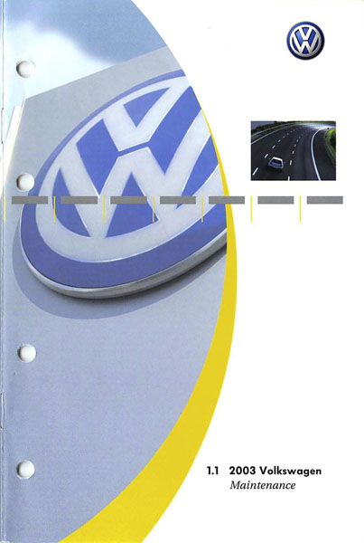 2003 Volkswagen Golf English Maintenance Cover