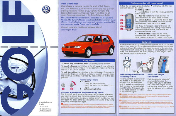 2003 Volkswagen Golf English Quick Reference Cover