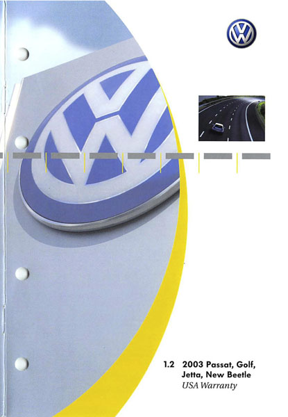 2003 Volkswagen Golf English USA Warranty Cover