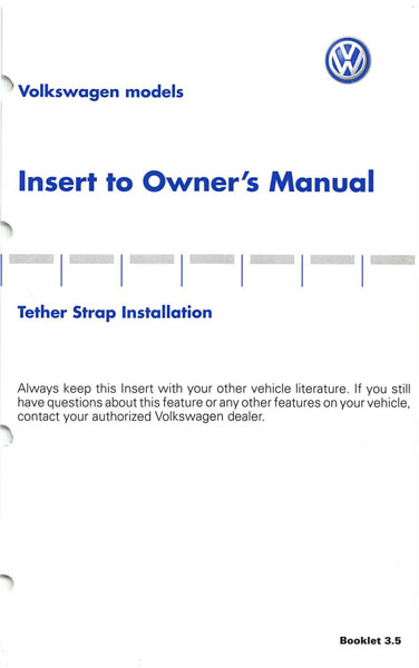 2003 Volkswagen Passat Wagon English Insert Tether Strap Installation Cover
