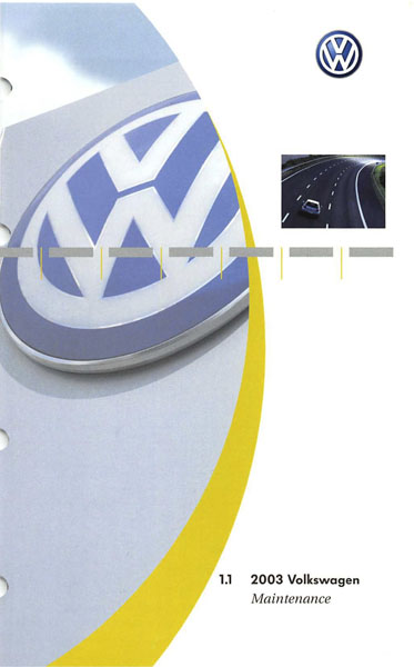 2003 Volkswagen Passat Wagon English Maintenance Cover