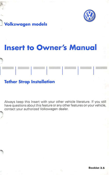 2004 Volkswagen Passat English Insert Tether Strap Installation Cover