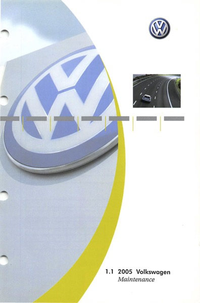 2005 Volkswagen Beetle English Maintenance Cover