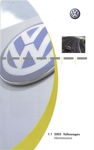 2005 Volkswagen Jetta English Maintenance Cover