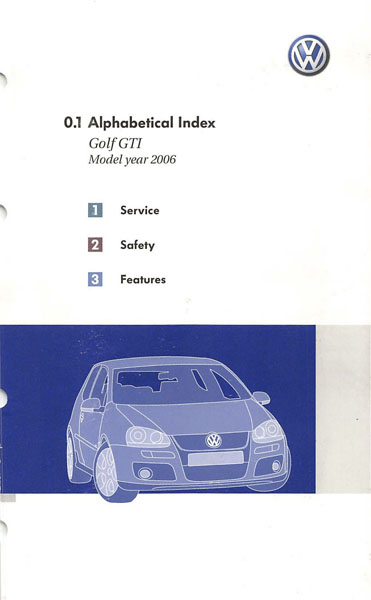 2006 Volkswagen GTI English Alphabetical Index Cover