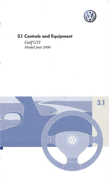 2006 Volkswagen GTI English Controls and Equipment Cover