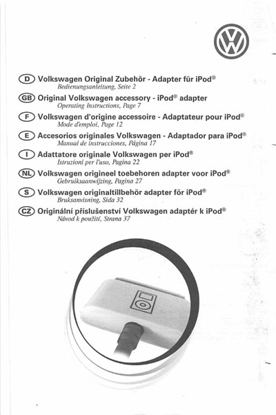 2006 Volkswagen GTI English iPod Adapter Cover