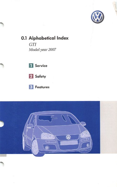 2007 Volkswagen GTI English Alphabetical Index Cover