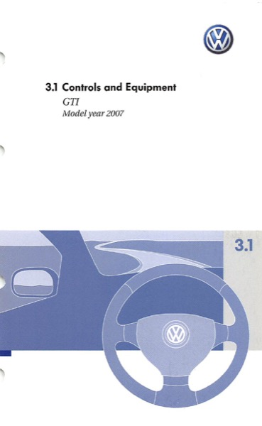 2007 Volkswagen GTI English Controls and Equipment Cover
