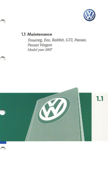2007 Volkswagen GTI English Maintenance Cover