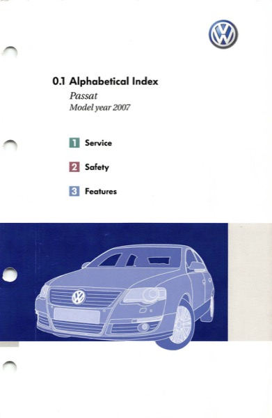 2007 Volkswagen Passat English Alphabetical Index Cover