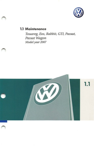 2007 Volkswagen Passat English Maintenance Cover