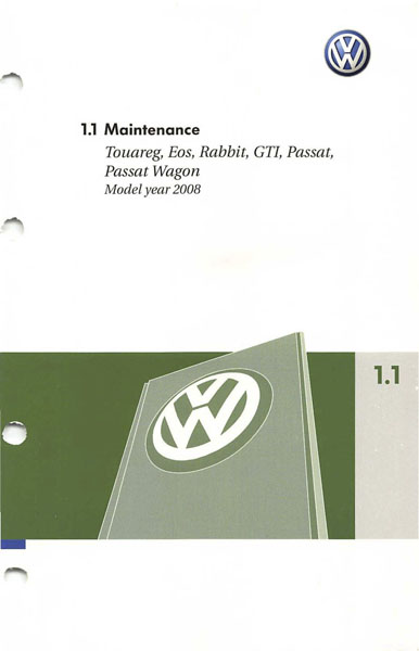 2008 Volkswagen GTI English Maintenance Cover