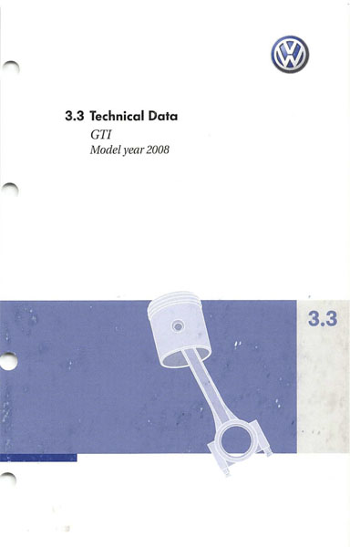 2008 Volkswagen GTI English Technical Data Cover