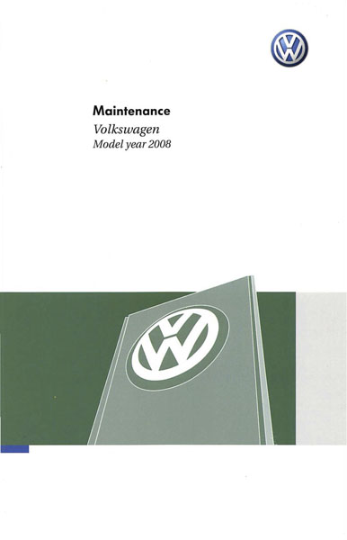 2008 Volkswagen Jetta English Maintenance Cover