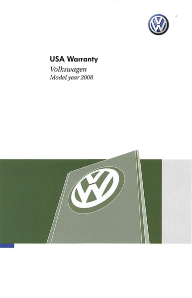 2008 Volkswagen Jetta English USA Warranty Cover