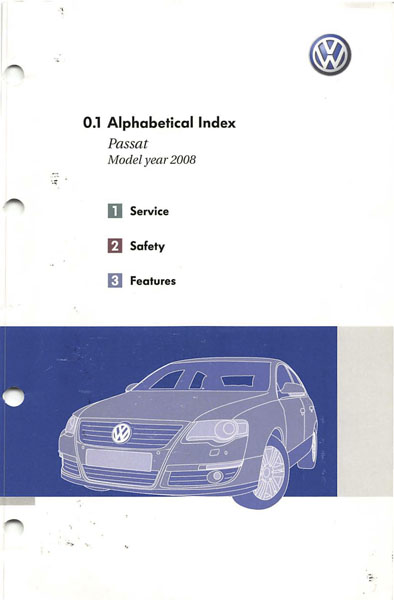 2008 Volkswagen Passat English Alphabetical Index Cover