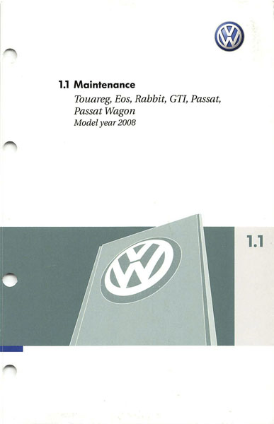 2008 Volkswagen Passat English Maintenance Cover