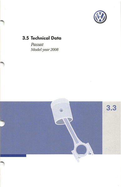 2008 Volkswagen Passat English Technical Data Cover
