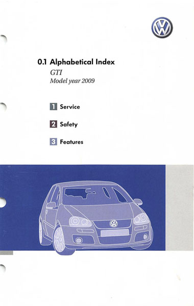 2009 Volkswagen GTI English Alphabetical Index Cover