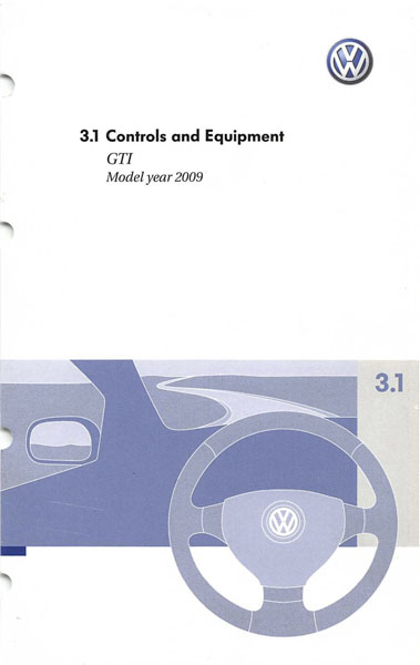 2009 Volkswagen GTI English Controls and Equipment Cover