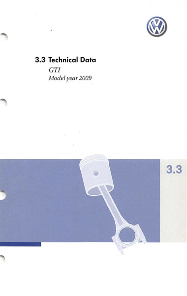2009 Volkswagen GTI English Technical Data Cover
