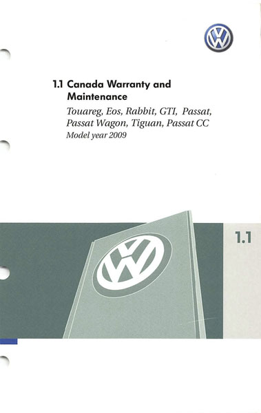 2009 Volkswagen GTI English Warranty and Maintenance Cover