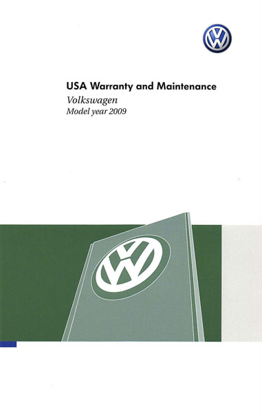 2009 Volkswagen Jetta English USA Warranty and Maintenance Cover